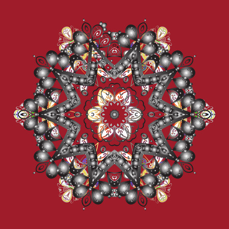 Illustration pour Snowflakes collection. Isolated of vector red, gray and white snowflakes. Fine winter ornament. Vector illustration. - image libre de droit