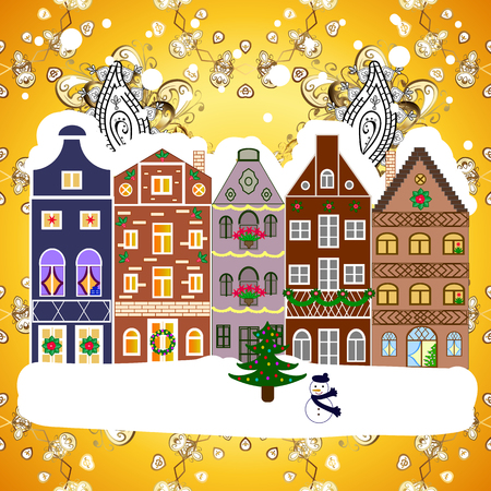 Illustration pour Christmas tree and snowman. Concept for greeting or postal card. A house in a snowy Christmas landscape at night. Vector illustration. - image libre de droit