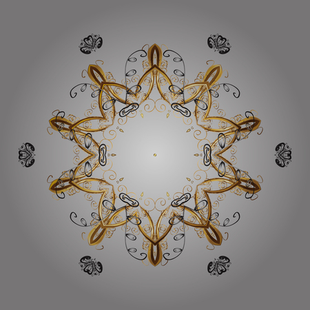 Illustration pour Snowflakes radial gray, brown and beige colors. Isolated nice snowflakes on colorful background.Vector illustration. - image libre de droit