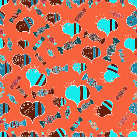 Illustration pour Bright seamless vector confetti party pattern. Colorful sugar sprinkle, candy or bakery design on a orange, blue and red background. - image libre de droit