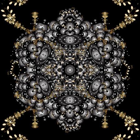 Ilustración de Floral ornament brocade textile pattern, glass, metal with floral pattern on black colors with golden elements. Classic vector golden seamless pattern. - Imagen libre de derechos