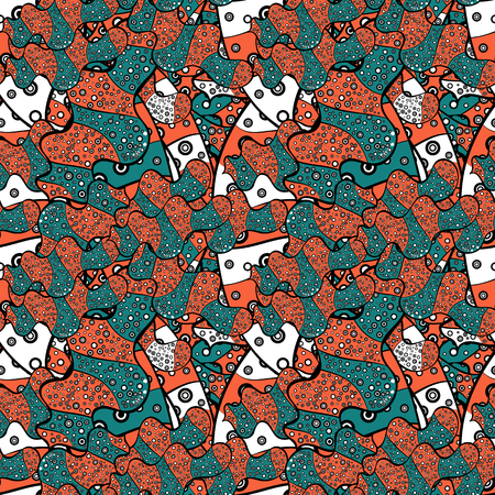 Illustration for Seamless pattern Sketch cute background. Nice pattern for wrapping paper vector. Doodles blue, black and orange on colors. - Royalty Free Image
