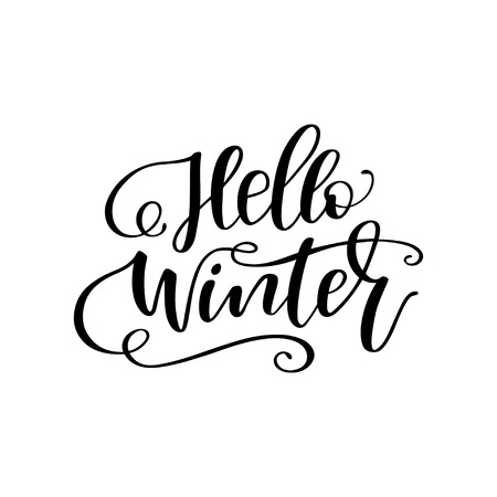 Illustration pour Hand drawn winter lettering Hello winter. Handwritten calligraphy design. Print for T-shirt, poster, greeting cards. Vector illustration - image libre de droit