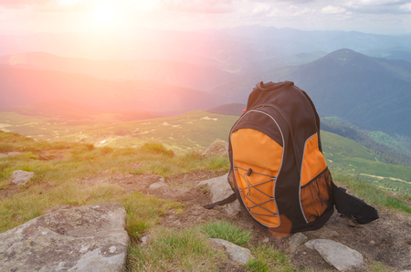 Photo for backpack in the mountains on a sunny summer day - Royalty Free Image