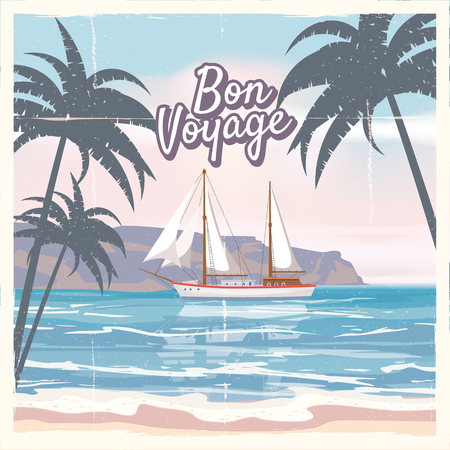 Photo pour Travel poster concept. Have nice trip - Bon Voyage. Fancy cartoon style. Cute ship, retro vintage tropicalflowers. - image libre de droit