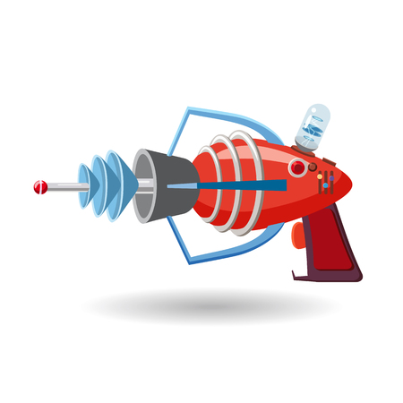 Ilustración de Cartoon retro space blaster, ray gun, laser weapon. Vector illustration. Cartoon style - Imagen libre de derechos