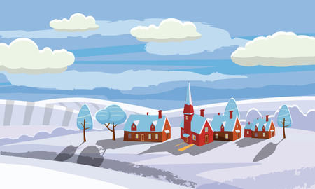 Illustration pour Winter landscape with country house and bullfinches. Cartoon style, vector, isolated - image libre de droit