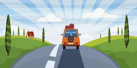 Ilustración de Summer trip vector illustration space for your text. . Car trip to camp, tourism concept. Vector, illustration, isolated - Imagen libre de derechos