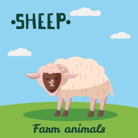 Cute Sheep farm animal character, farm animals, vector illustration on field background. Cartoon style, isolated