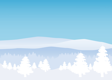 Illustration pour Winter landscape, minimal style. Horizon, panorama, snow-covered trees Ate pine - image libre de droit