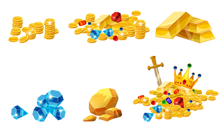 Illustration for Set Treasure, gold, coins, rock gold nugget bars jewels crown - Royalty Free Image
