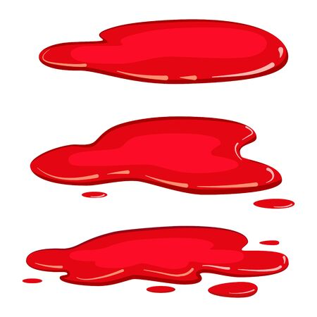 Ilustración de Set puddle blood liquid, pool plash vector, cartoon style, isolated, illustration, on a white background - Imagen libre de derechos