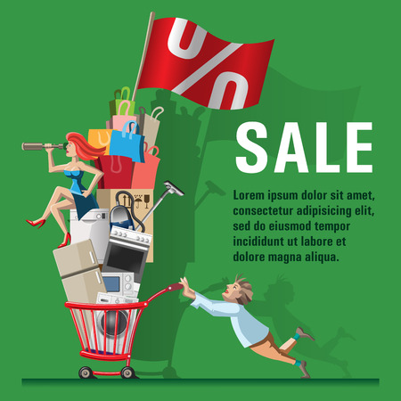 Ilustración de Comic vector illustration Sale. Husband carries shopping trolley filled with full of shopping. For the purchase of the woman sits and looks through a telescope. Concept for web banners and printed materials. - Imagen libre de derechos
