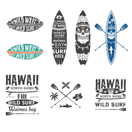 Illustration pour Surfing vector emblem set with hawaiian lei, surfboard, shark teeth, shark, skull and paddle. - image libre de droit