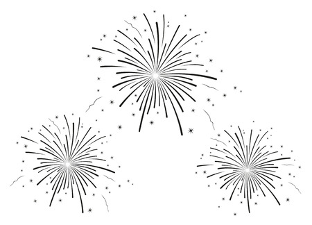 Illustration pour Vector illustration of fireworks black and white - image libre de droit