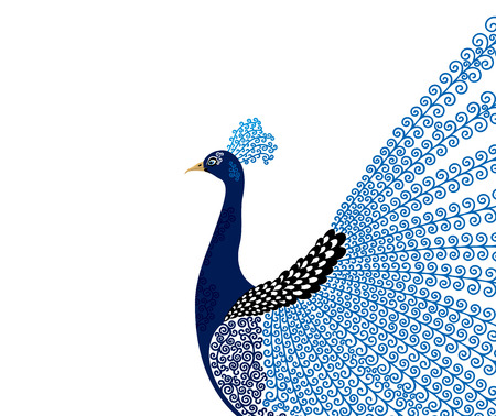 Illustration pour Abstract stylized peacock greeting card. Invitation. Vector illustration - image libre de droit