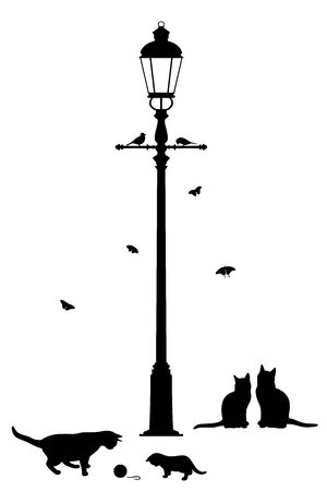 Illustrazione per Vector illustration of street lantern and playing cats - Immagini Royalty Free