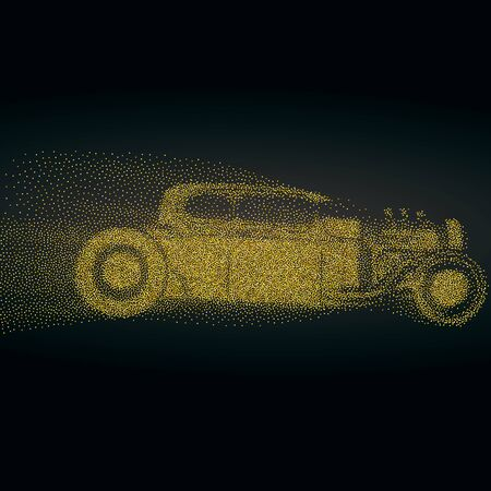 Ilustración de Hot rod background with a retro car. Roadster particles, symbolizing speed vector illustration. - Imagen libre de derechos