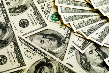 Photo pour Background with money american hundred dollar bills - image libre de droit