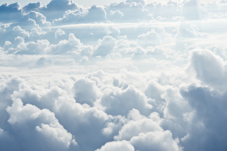 Photo for Aerial view on white fluffy clouds - Royalty Free Image