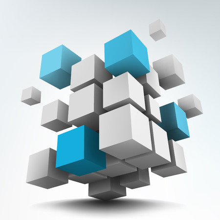 Foto per Vector illustration of 3d cubes - Immagine Royalty Free