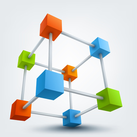 Illustration for Vector illustration of colored 3d cubes with connections - Royalty Free Image