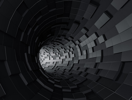 Photo pour Abstract 3d rendering of futuristic tunnel. Background with sci-fi pipe and chaotic cubes. - image libre de droit