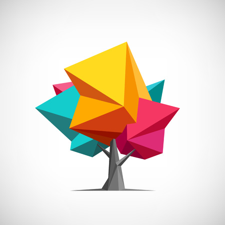 Illustrazione per Conceptual polygonal tree. Abstract vector Illustration, low poly style. Stylized design element. Background design for poster, flyer, cover, brochure. Logo design. - Immagini Royalty Free