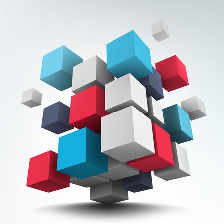 Illustration pour Abstract vector Illustration. Composition of 3d cubes. Background design. Logo design. - image libre de droit