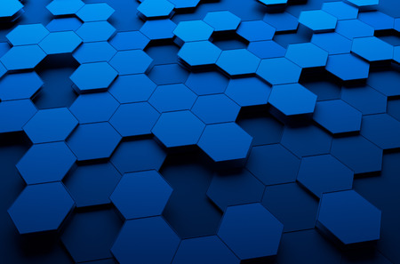 Photo pour Abstract 3d rendering of futuristic surface with hexagons.  - image libre de droit