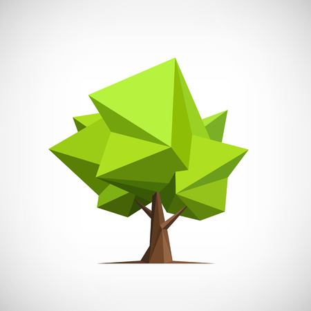 Ilustración de Conceptual polygonal tree. Abstract vector Illustration, low poly style. Stylized design element. Background design for banner, poster, flyer. - Imagen libre de derechos