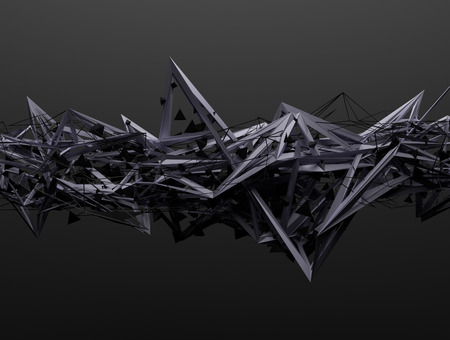 Photo pour Abstract 3d rendering of chaotic structure. Dark background with futuristic shape in empty space. - image libre de droit