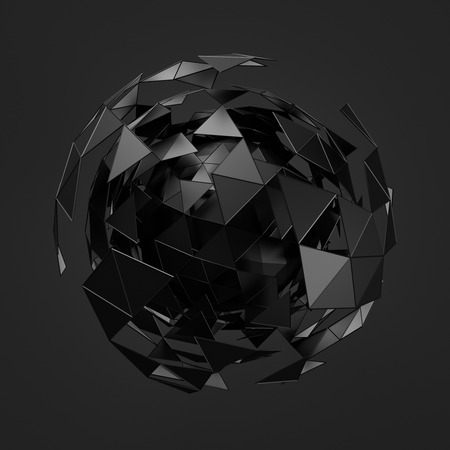 Photo for Abstract 3d rendering of low poly black sphere with chaotic structure. Sci-fi background with wireframe and globe in empty space. Futuristic shape. - Royalty Free Image