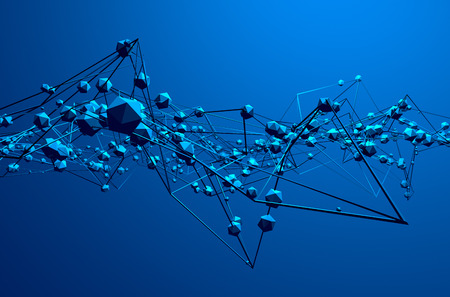 Photo pour Abstract 3d rendering of chaotic structure. Blue background with lines and low poly spheres in empty space. Futuristic shape. - image libre de droit