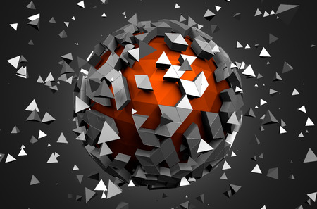 Photo for Abstract 3d rendering of low poly sphere with chaotic structure. Sci-fi background with globe in empty space. Futuristic shape. - Royalty Free Image