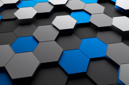 Foto de Abstract 3d rendering of futuristic surface with hexagons. Sci-fi background. - Imagen libre de derechos