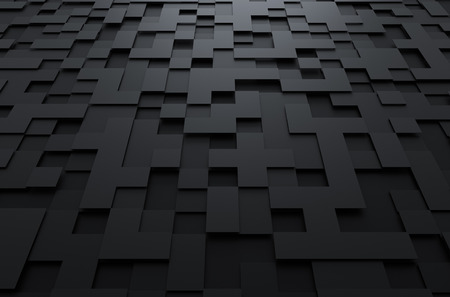 Photo pour Abstract 3d rendering of black futuristic surface with squares. Sci-fi background. - image libre de droit