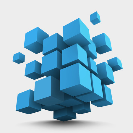 Illustration pour Abstract vector Illustration. Composition of blue 3d cubes. Background design for banner, poster, flyer. Logo design. - image libre de droit