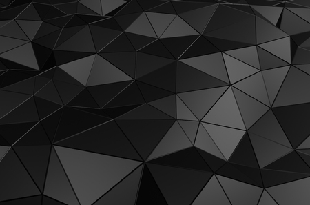 Photo pour Abstract 3d rendering of black surface. Background with futuristic low poly shape. - image libre de droit