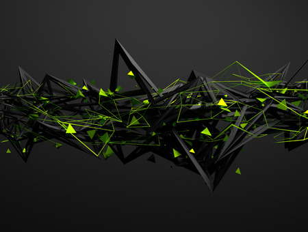 Foto de Abstract 3d rendering of chaotic structure. Dark background with futuristic shape in empty space. - Imagen libre de derechos