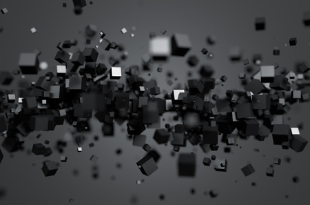 Photo for Abstract 3d rendering of chaotic particles. Sci fi cubes in empty space. Futuristic background. - Royalty Free Image