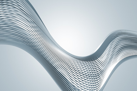 Photo pour Abstract 3d rendering of high tech metal structure. Background with chrome lines in empty space. Futuristic steel shape. - image libre de droit