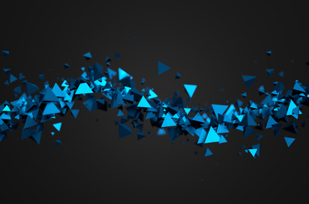 Photo pour Abstract 3d rendering of chaotic particles. Sci fi pyramids in empty space. Futuristic background. - image libre de droit