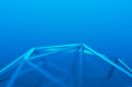 Foto de Abstract 3d rendering of blue shape. Background with futuristic low poly lines. - Imagen libre de derechos
