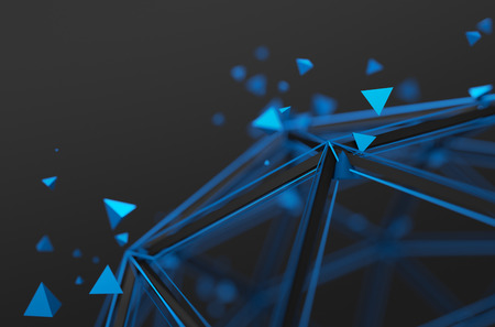 Photo pour Abstract 3d rendering of low poly structure. Sci-fi background with wireframe and particles in empty space. Futuristic shape. - image libre de droit