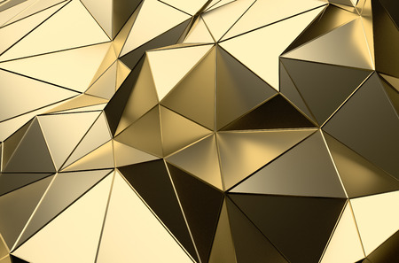Photo pour Abstract 3d rendering of gold surface. Futuristic background with lines and low poly shape. - image libre de droit