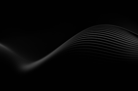 Foto de Abstract 3d rendering of black lines. Dark background with futuristic shape. - Imagen libre de derechos