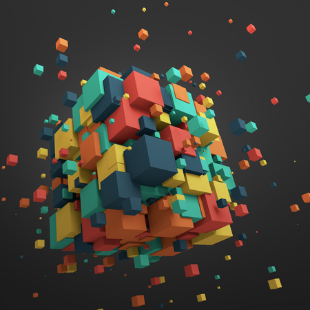 Photo pour Abstract 3d rendering of chaotic particles. Colored cubes in empty space. Colorful background. - image libre de droit