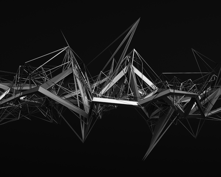 Photo for Abstract 3d rendering of chaotic structure. Dark background with futuristic shape in empty space. - Royalty Free Image