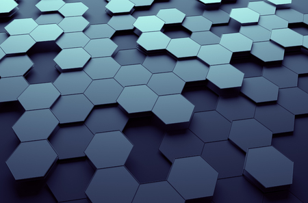 Foto per Abstract 3d rendering of futuristic surface with hexagons. Dark sci-fi background. - Immagine Royalty Free